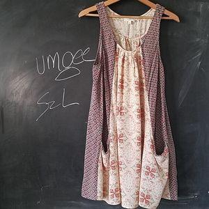 Umgee Tank Dress Tunic Sz L Floral Top